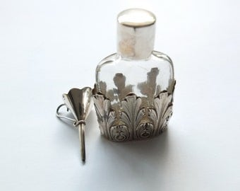 Sterling Silver and glass Bottle of perfume and funnel