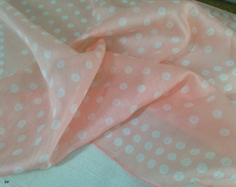 Vintage Pink Scarf with BUTTON PATTERN Almost Sheer, Rayon