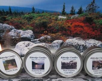 WEST VIRGINIA SAMPLER (four 2-oz soy candles)