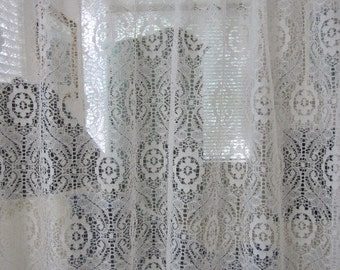 Lace Curtain, White Floral Lace Curtain Panel 60 wide x 62 long