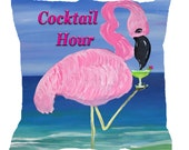 Flamingo cocktail hour throw pillow from my art available in 4 sizes