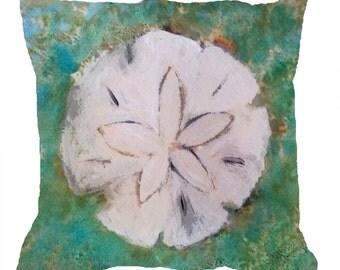 Sanddollar seashell artthrow pillow with insert