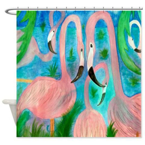 Flamingo Party Art Shower Curtain by maremade on Etsy