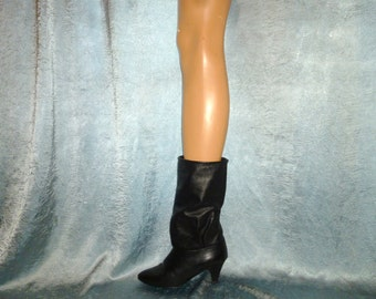 Vintage 1980's - Black - Leather - Ruched - Fold Over - Pirate - Stacked Leather High Heel - Boots - by Cobbies - marked a size 5 Medium