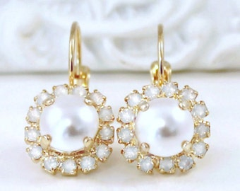 Beautiful Pearls Framed with White Opal Halo Crystals on 14k Gold Lever Back Earrings, Crystal Halo Dangles