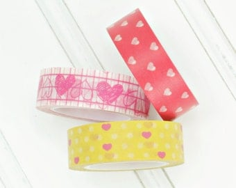 Washi Tape Hearts Rolls Choose Your Pattern Pink Sketchy Hearts, Red Hot Hearts, Yellow with Pink Hearts
