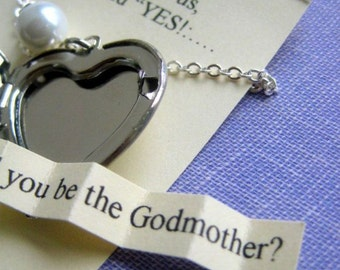 Ask Godmother, locket necklace, secret announcement. FREE personalized notecard, jewelry box.