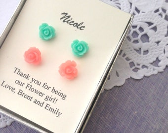 Rose stud earrings, set of TWO pairs. Flower girl, bridesmaid gift, personalized notecards, free jewelry box.