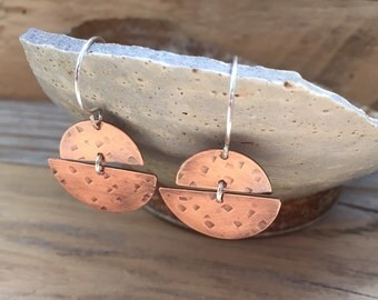 Textured Copper Double Half Moon Earrings