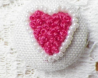Handmade Embroidered Pink French Knot / Rosebuds Heart with Pearls Button / Embellishment / Embroidery, Deep Pink Roses, Heart Shaped, OOAK