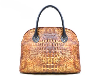 Crocodile Handbag - Crocodile Print Leather Purse - Reptile Leather Handbag - Bowling Ball Statement Bag Everyday Two Tone Tote IN STOCK