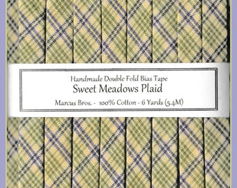 6 Yards Handmade Double Fold Bias Tape - Sweet Meadows Plaid from Marcus Brothers