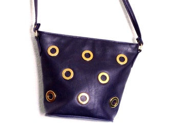 Vintage PURPLE Leather Gold Geometric Hardware Mod CrossBody Purse, Rock the 80s Disco Bag Small Bucket Purse EXCELLENT