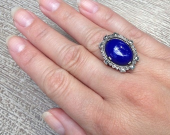 Sterling Silver Art Deco Ring Lapis Lazuli Glass Marcasite Sterling Vintage