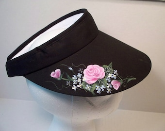 Women's Black Sports Visor with Pink Roses