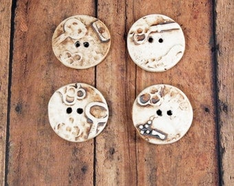 4 Large Unique Buttons - Ceramic Pottery Handmade Buttons -343