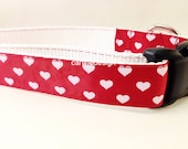 Valentine's Dog Collar, Hearts, 1 inch wide, adjustable, quick release, metal buckle, chain, martingale, hybrid, nylon