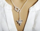 DPT Doctor of Physical Therapy Caduceus Stethoscope Lariat Necklace