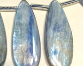Large long Blue Kyanite top drilled smooth polished flat tear drops one pair