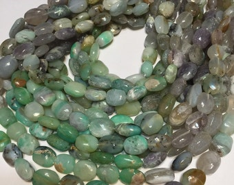 Peruvian shaded Green opal oval beads WHOLE STRAND