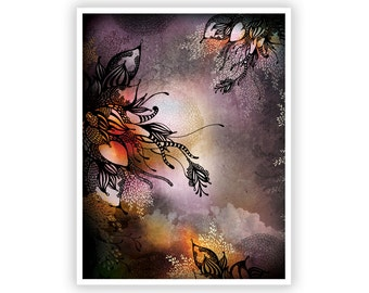 Purple Rain by Iveta Abolina - Floral Illustration Print