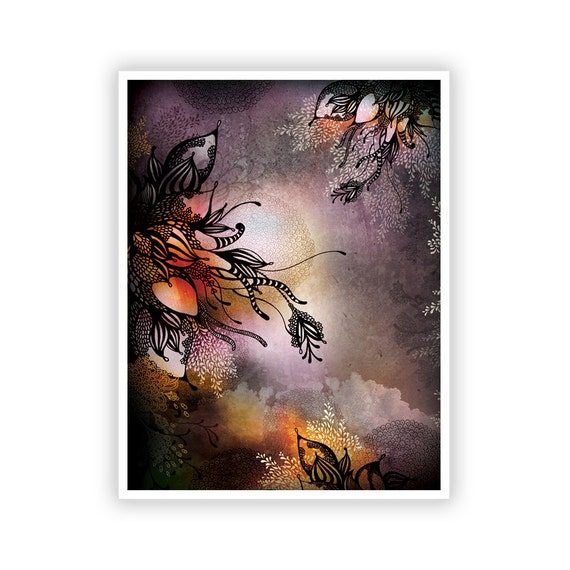 Purple Rain by Iveta Abolina - Floral Illustration Print