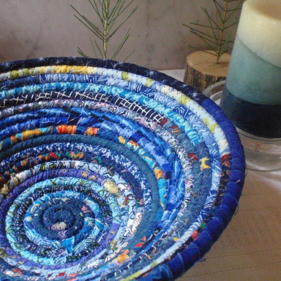 Handmade Fabric Storage Baskets : Blue gypsy coiled fabric basket storage catchall