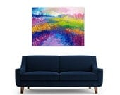 Abstract Landscape Painting Reproduction, Instant Download Art Print, colorful meadow, royal blue, purple, pink, Over The Rainbow