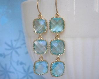 Aquamarine Blue Earrings, Triple Glass Gold Earrings, Bridal Jewelry, Bridesmaid Earrings, Wedding Jewelry, Birthday, Anniversary