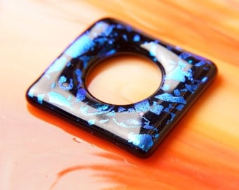 Handmade Dichroic Fused Glass Focal Cab Bead for Pendant Necklace