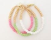 Color Block Bracelet SET Pink Green White Gold- Czech Glass Baby, Toddler, Kids, Womens Dainty Bracelet - Preppy, Beach, Boho