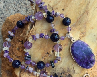MOONSHADOW Necklace (Chaorite, Amethyst, Blue Goldstone, Lemon Quartz)