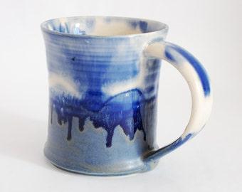 16 oz Mug Blue and White Porcelain Ceramic Mug Large