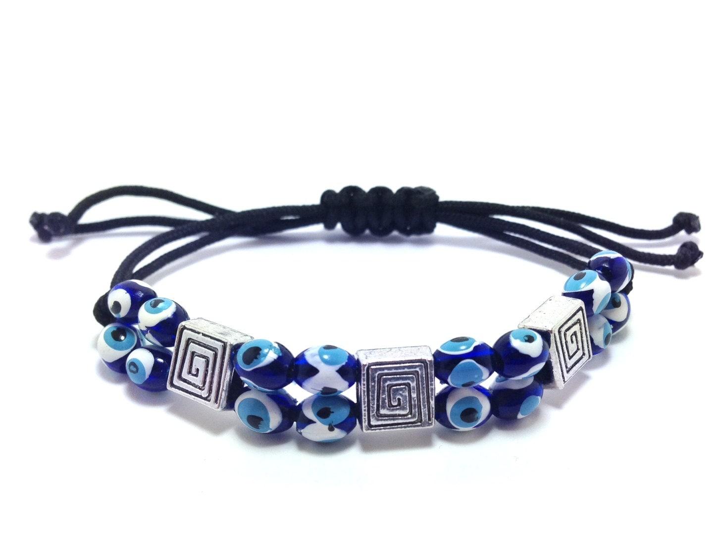 Greek key evil eye bracelet macrame black gift for him or