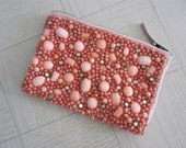 LAST CHANCE CLEARANCE Vintage 1960s Beaded Bag - Gorgeous Coral Beaded Clutch - 60s Beaded Evening Bag