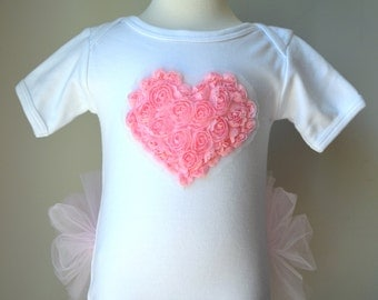 Heart appliqué on SHORT sleeved Tutu Onezee White Bodysuit with built-on Pink Tutu, baby tutu, baby girls shower gift, infant tutu, tutu