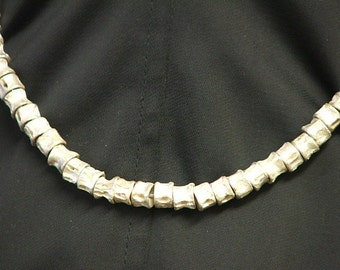 "SHARK VERTEBRAE NECKLACE-Sterling Silver 17.5"" Choker-Ready to Ship"