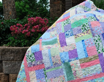 Handmade Queen Bed Quilt English Cottage Garden 86 by 100  wedding anniversary gift Quiltsy Handmade