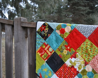 Quilted Large Christmas Tree Skirt, Jovial by Moda  44 inch diameter nontraditional holiday wedding gift Quiltsy Handmade