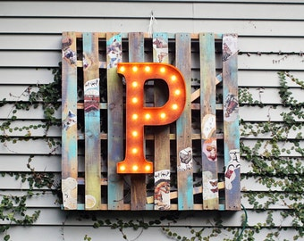 """Light Up Letter P - RUSTY - 24"""" Vintage Marquee Lights-The Original!"""""""
