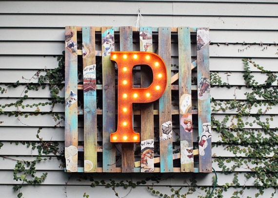 "Letter Light P - RUSTY - 24"" Vintage Marquee Lights-The Original!"""