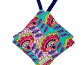 Quilted Potholder -- Square Pot Holder -- Hanging Hot Pad -- Fabric Trivet -- Cotton Hotpad -- Aqua Fiesta --  Ready To Ship