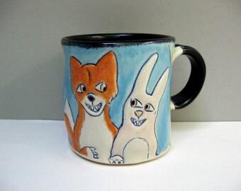 Animal Mug, Fox and Rabbit Mug, Blue and Orange Coffee Mug or Tea Mug with Woodland Animals, Animal Pottery with Bunny and Fox