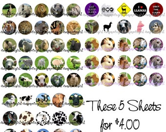 INSTANT DOWNLOAD...Animals Mix 2 ...1 Inch Circle Image Collage for Bottle Caps