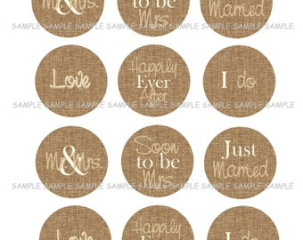 INSTANT DOWNLOAD...Burlap Cream and Natural Wedding .... 2 Inch Circle Image Collage for Cupcake Toppers