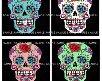 INSTANT DOWNLOAD...Say of the Dead Sugar Skulls.... 4 Inch Square Image Collage for Coasters...Buy 3 get 1