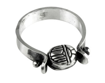 Scarab Ring, Ankh Ring, Spinner Ring, Custom Size, Silver Spinner Ring, Tiny Scarab Ring, Tiny Ankh Jewelry, made in USA