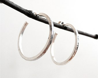 Hammered Sterling Silver Hoops