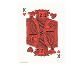 King of Hearts Illustrated Art Print