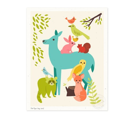 Eastern Forest Friends Illustrated Art Print